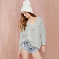 Gray Long Sleeve V-Neck Knitted Pullover Sweater