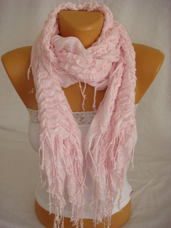 Women Pudra Pink Cotton Shawl Scarf by Arzus on Etsy