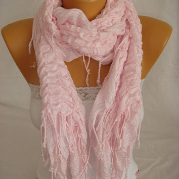 Women Pudra Pink Cotton Shawl Scarf