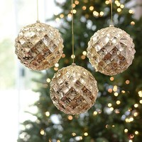 Large Champagne Iced Metallic Ornament, Set of 3
