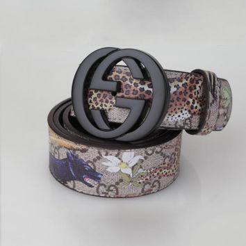 GUCCI Fashion Flower Print Smooth Buckle Belt Leather Belt