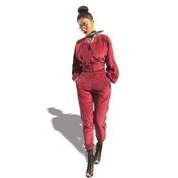 Good Quality Velvet Tracksuit Two Piece Set Women Sexy Pink Long Sleeve Top And Pants Suit Runway Fashion Trainingspak
