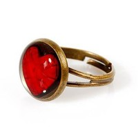 Handmade Vintage Red Heart Ring