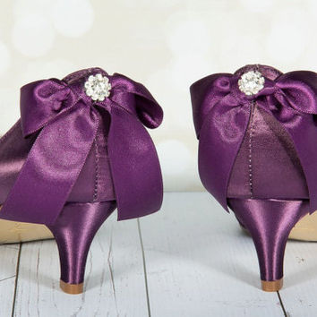 Purple Wedding Shoes - Purple Bows - Crystal - Peep Toe - Bridal Shoes - Dyeable Shoes - Choose From Over 100 Colors -  Choose Heel Height