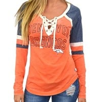 Denver Broncos Womens Laceup Long Sleeve Top | SportyThreads.com