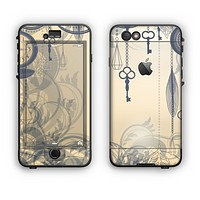 The Vintage Hanging Clocks and Keys Apple iPhone 6 Plus LifeProof Nuud Case Skin Set
