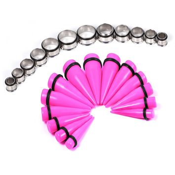 BodyJ4You Gauges Kit 24 Pieces Pink Tapers Plugs 00G 10mm 12mm 14mm 16mm 18mm 20mm Inch Huge Ear Stretching Kit Tunnel