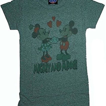Junk Food Mickey Mouse and Minnie Tri Blend Ladies T-Shirt