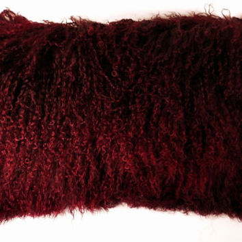 Mongolian Lamb fur Pillow Burgundy new tibetan made in usa authentic tibet fur cushion insert included