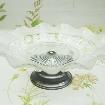 Cake Stand, Bon Bon Dish, Small Cake Plate, Glass Stand, Davidson Glass, Blackberry Prunt, Art Deco Home, Wedding Decor, Vintage Tea - 1920s