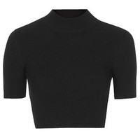 Ribbed Knit Funnel Neck Crop Tee - Black