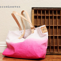 CANVAS TOTE BAGpink with leather strapmedium size by cocosheaven