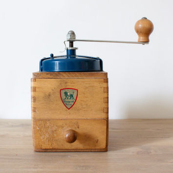 Peugeot Frères || Antique French blue Coffee Grinder 1950's - Vintage french Metal and wood coffee grinder - Rustic & shabby chic