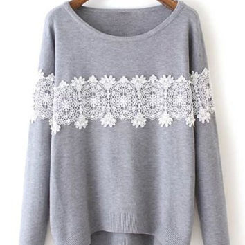 Long Sleeve Lace Beading Sweater