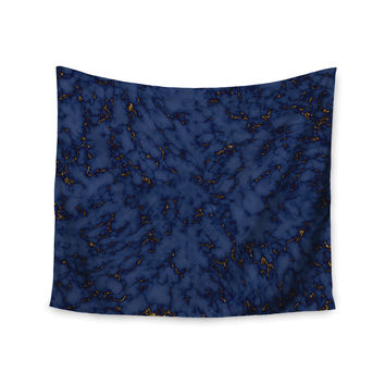 "Will Wild ""Blue & Gold Marble"" Navy Abstract Wall Tapestry"