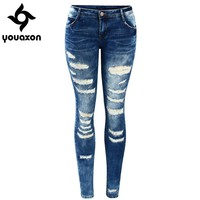 Low Rise Skinny Distressed Stretch Denim Jeans