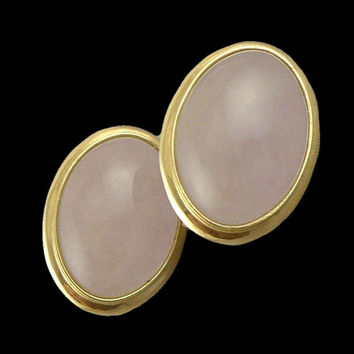 Gold Rose Quartz Earrings, Vintage 14K Gold Rose Quartz Cabochon Earrings With French Backs, 14K Rose Quartz Oval Earrings
