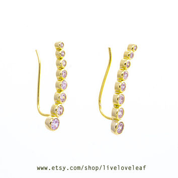 gold cz ear cuffs and jackets, ear climbers ear crawlers, bezel curved ear cuffs, graduated curved bar earrings crystal ear pins ear sweeps