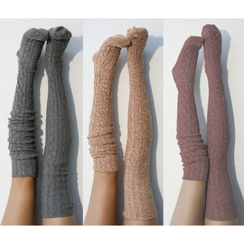 3pk Marled Cable Thigh High Socks, Multi Pack