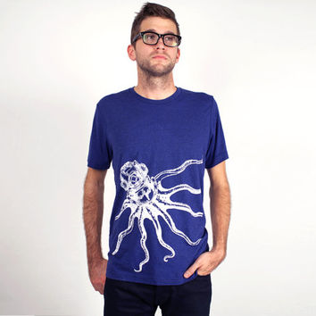 Octopus Unisex T Shirt, Octopus Shirt, Men's Octopus Shirt, Nautical Shirt, Octopus Tee, Screen Printed T Shirt, Octopus Scuba Diver Shirt