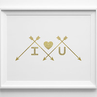 I Love You Valentines Day Decor, Faux Gold Foil Heart and Arrow Print, I Heart You Valentine Decor, Gold and White Bedroom Art, Anniversary