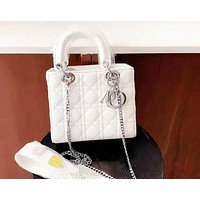 Dior Fashion new women's rhombic large capacity shoulder Messenger bag handbag White