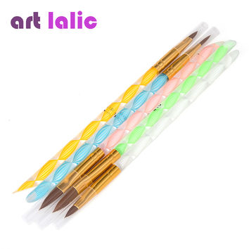 5pcs 2-Ways Acrylic Nail Art Brush Pen Cuticle Pusher high quality nail art tool hot selling