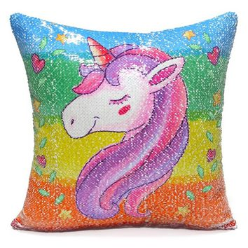 Unicorn Throw Pillow Cover Mermaid Unicorn Printed Pillowcase Reversible Sequins Decorative