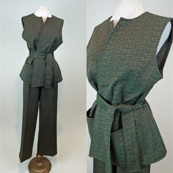 Polyester Pant Suit // Vintage Green Checkered // Belted Vest // Zippered Wide Leg Pants // Medium