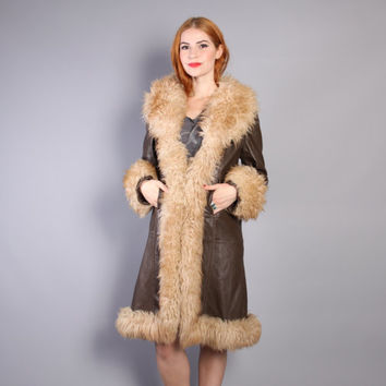 60s LEATHER & LAMB Fur COAT / Dark Brown Shearling Trim Jacket