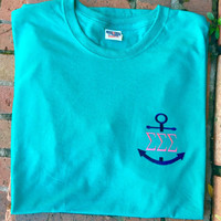 SALE Monogrammed Anchor tee with Greek letters or initials.