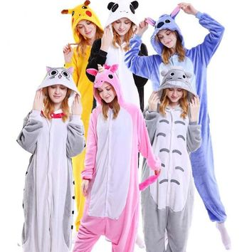 Kawaii Flannel Pijama kigurumi For Women  Pikachu Onesuit Adult Totoro Sleepwear Couple Pyjamas Halloween Party JumpsuitKawaii Pokemon go  AT_89_9