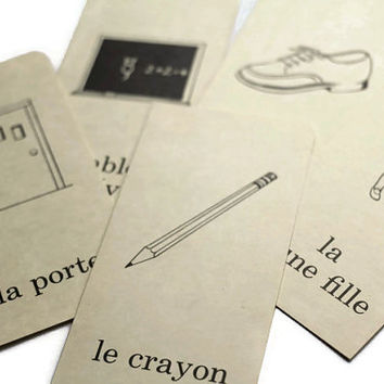 Vintage French Flashcards Lot of 5 Pictures and Words DeStash Lot Paper Supplies