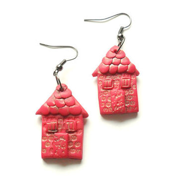 Polymer clay earrings little houses pink magenta distressed house shaped dangle earrings