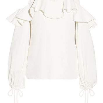 Oscar de la Renta - Ruffled tulle and silk-blend crepe de chine top