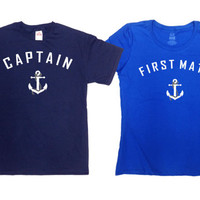Matching Shirts Couple T Shirts Nautical TShirt Honeymoon Gifts For Newlyweds Mr And Mrs Husband And Wife Boat Captain First Mate SA227-228