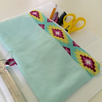 Pencil Case. School Supplies. Pencil. Case. pencil Holder. Binder Pouch. Coupon Holder. Aztec. Teal. Pouch. Binder Pencil Pouch
