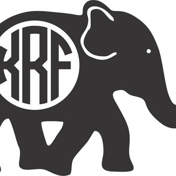 Initial Monogrammed Elephant Decal