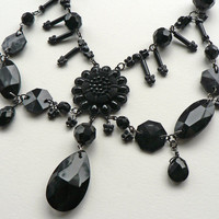 Neo-Victorian Mourning Necklace, jet black gothic statement necklace.