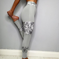 Hip Up Slim Pants Print Patchwork Permeable Women's Fashion Leggings [10159876423]