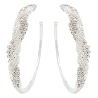 CHIC! Stunning Crystal Silver Braid Hoop Clip On Earrings