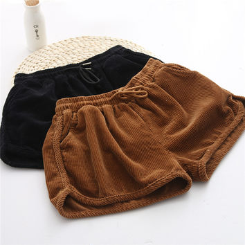 High Fashion Korean Designer New 2016 Spring Fall Elastic Waist Corduroy Shorts Womens Cute Pleated Boots Short Pants Autumn