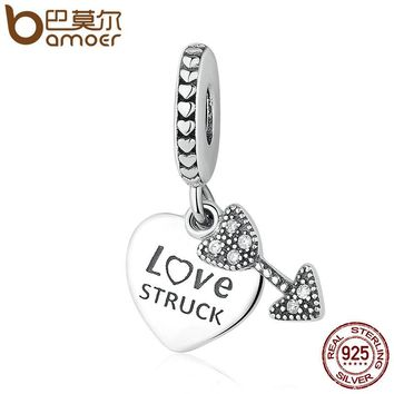 BAMOER Genuine 100% 925 Sterling Silver Love Struck & Arrow Pendant Charms Fit Bracelet & Necklaces Jewelry Accessories PSC074
