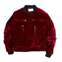 Indie Designs Haider Ackermann Inspired Purple Gathered Sleeve-detail Velvet Bomber Jacket