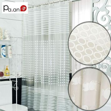 Simple Transparent Shower Curtain PEVA Endless Apple Striped Printing Waterproof Mold Proof Plastic Bathroom Curtains Pa.an