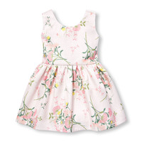 Toddler Girls Sleeveless Shimmer Floral Print Jacquard Dress | The Children's Place