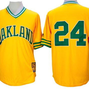 KUYOU Oakland Athletics Jersey - #24 Ricky Henderson Yellow 1981 Throwback Jersey