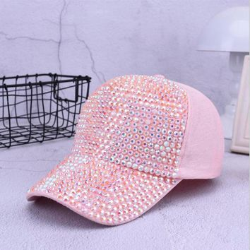 Trendy Winter Jacket Fashion Women Rhinestone Hats Female Baseba 1315680e411e