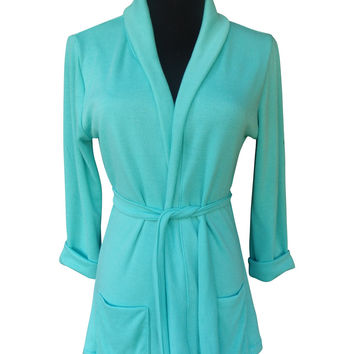 Green Aqua Topaz Shawl Collar Sweater Wrap Cardigan with 3 Quarter Sleeves