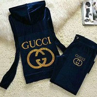 Gucci Fashion Casual Long Sleeve Zipper Hoodie Long Pants J Velvet Two Piece Set Sapphire G-ALNZ
